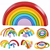 Bearony Grimm Rainbow Holzspielzeug, 7 Farben aus Holz Stapeln Rainbow Form Kinder Kids Educational Play Toy Set