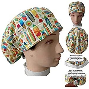 Hüte OP-Haube Surfbretter Krankenschwester, Zahnarzt, Tierarzt, für langes Haar. Saugstreifen vorne, Gummi mit verstellbarem Spanner