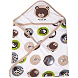 Guru Kripa Baby Products™ Cotton Cartoon Print Hooded Double Layer Wrapping/Wrapper Sheet-Brown
