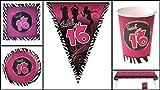Set 16 Jahre Geburtstag Sweet 16 inkl. Girlande 38 Teile pink schwarz
