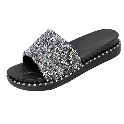 Sandali donna, ashop sandali estivi donna│infradito eleganti sandali│ciabatte donna│pantofole da donna con paillettes sandali infradito sandali con ciabatte (37 eu, argento)