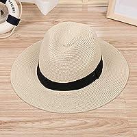 DAYOUZ Gorra de Beisbol Sombreros Sombreros Jazz Hat Ribbon Round Flat Top Straw BeachSombreros De Verano para Hombres Mujeres Sombreros De Paja Snapback Gorras