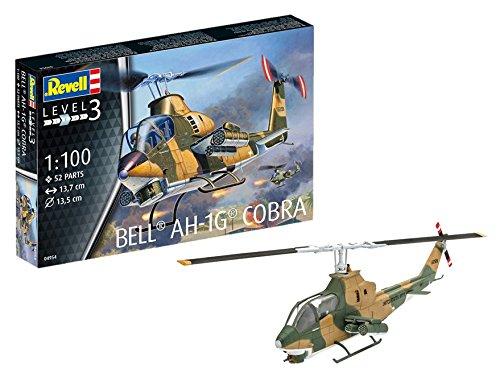 Revell Modellbausatz Hubschrauber 1:100 - Bell AH-1G Cobra im Maßstab 1:100, Level 3, originalgetreue Nachbildung mit vielen Details, Helikopter, 04954