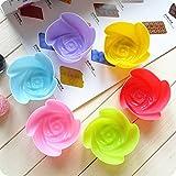 URAQT Silikon Muffinform, Silikonform Backförmchen, Rose Blume Form, für Muffins, Brownies, Cupcakes (Size:7cm)