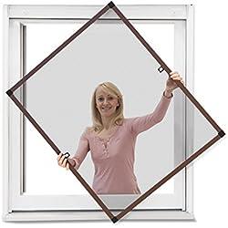 JAROLIFT Profi Line Mosquitera con marco de aluminio para ventana 90cm x 150cm marrón - Montaje sin perforación