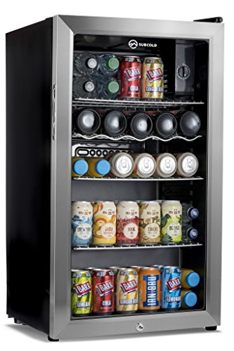 Subcold Super85 LED - Under-Counter Fridge With Stainless Steel Door | 85L Beer Wine and Drinks Fridge | LED Light + Lock and Key | Low Energy A+