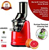 Kuvings Professional Cold Press Juicer - with Patented Wide Mouth Technology to Juice Whole Fruits, Vegetables & Green Leafy Vegetables + Make Nut Milk (B1700 Red)