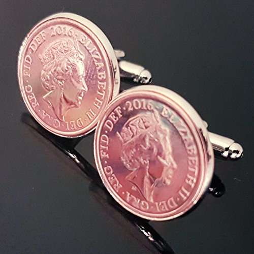 1p Silver mounted Cufflinks one penny pence ✔1992✔ for sale  Delivered anywhere in UK
