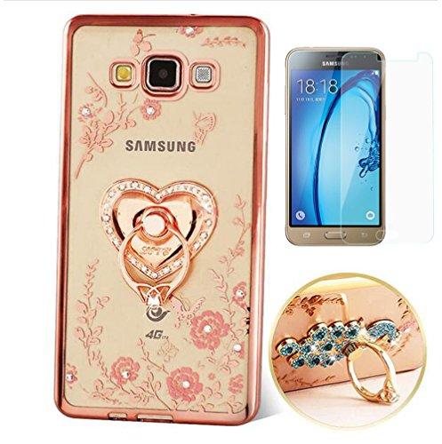 Preisvergleich Produktbild ISENPENK Samsung Galaxy J3 2016 Ring Handy Hülle mit Panzerglas