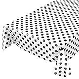 ANRO Wachstuchtischdecke Wachstuch Wachstischdecke Tischdecke Schwarz Weiß Tupfen Punkte Gepunktet Dots 220 x 140cm