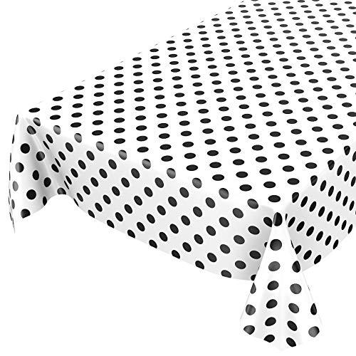 ANRO Wachstuchtischdecke Wachstuch Wachstischdecke Tischdecke Schwarz Weiß Tupfen Punkte Gepunktet Dots 100 x 140cm