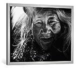 kunst für alle Bild mit Bilder-Rahmen: Tatsuo Suzuki Portrait - Dekorativer Kunstdruck, Hochwertig gerahmt, 100x75 cm, Silber Gebürstet