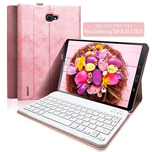 """BAIBAO Funda Teclado Tablet 10.1 para Samsung Tab A 10.1"""" SM-T580 / T585 / T587 (Versión NO S Pen), Cubierta Delgada con Teclado Español Inalámbrico Bluetooth Desmontable Magnéticamente (Rosa)"""