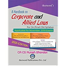 Bestword A Handbook on Corporate and Allied Laws CA Final Old Syllabus By Munish Bhandari Applicable for November 2019 Exam