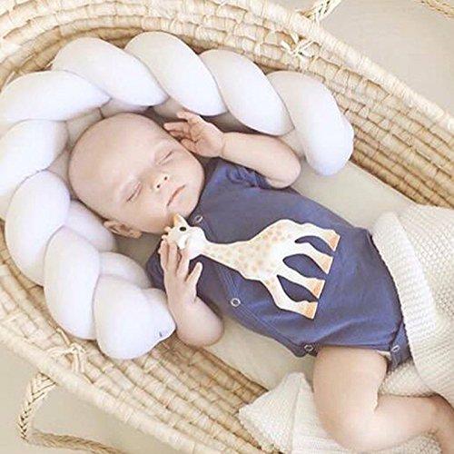 Dekorative Nackenrolle Kissen (GUOYIHUA Geflochtenes Kissen, handgefertigt, für Kinderbett, Knoten, Kissen, dekorative Nackenrolle für Babybetten, Geschenkschienen, Plüsch, weiß, 2 m)