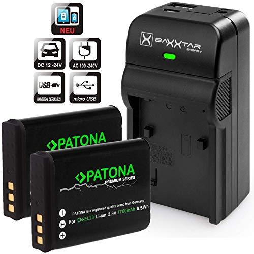 degerät 5 in 1 mit 2x Patona Premium Akku für Nikon EN-EL23 (echte 1850mAh) ()