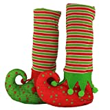 WEWILL Brand Christmas Table Leg Covers Elves Feet Shoes Legs Party Decoration Holiday Stockings,14x8x3 Inch/35x20x8CM(Red/Green), Pack 2