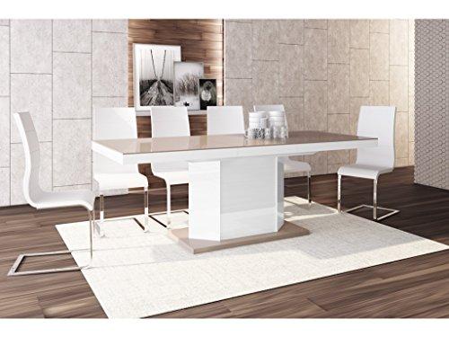 H MEUBLE Table A Manger Design Extensible 160÷256 CM X P : 89 CM X H: 75 CM - Cappuccino/Blanc