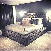 HeavenlyBeds Royale Chesterfield Bed Frame Ambassador (Mink Plush Velvet, 6ft Super King)