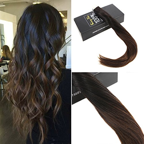 Sunny dip dyed nero naturale a marrone scuro extension biadesive capelli veri 14 pollice/35cm 20pcs/50g 100% remy tape in extensions