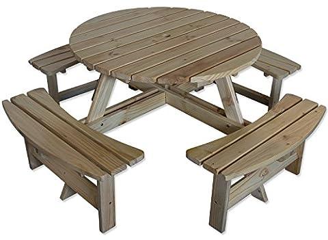 Maribelle 8 Seater Natural Pine Round Garden/Pub Bench and Seat Furniture