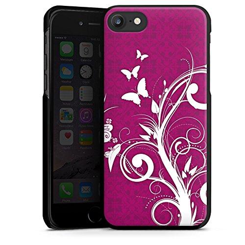 Apple iPhone X Silikon Hülle Case Schutzhülle Pink Schmetterlinge Blumen Hard Case schwarz