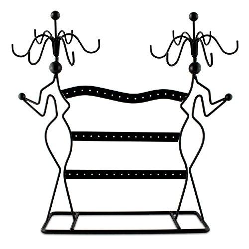 Grinscard Schmuckständer im Silouette Design - ca. 35x34x8 cm, Schwarz - Dekorativer Metall Schmuck-Halter inkl. Haken & gelochte Steckleisten | Schmuck-Aufbewahrung | Ohrring-Ständer | ()
