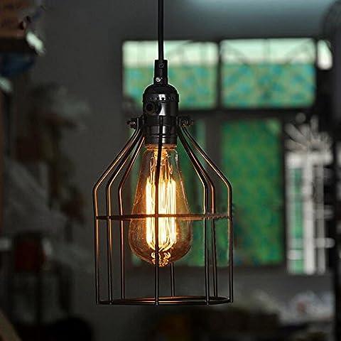Retro Vogelkäfig Kronleuchter Deckenleuchte Esien Industrial Lampenschirm Pendelleuchte Lampenfassung Land mit Draht