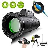 Monokulare Teleskope, Slopehill 12X50 Hochauflösendes FMC BAK4 HD-Monokular für Vogelbeobachtung, Smartphone-Halterung und wasserdichtes Camping-Stativ-Monokular