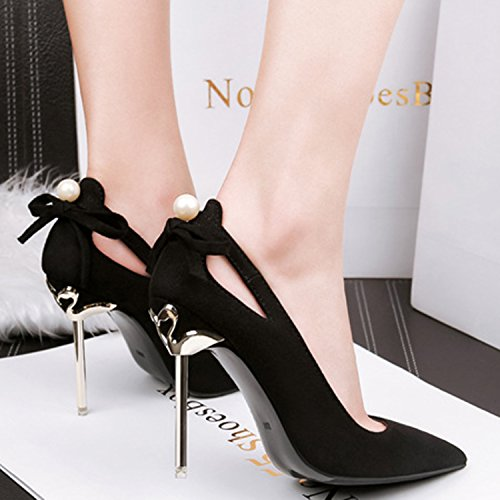 Oasap Women's Pointed Toe Bow Suede Slip-on Stiletto Pumps Black vDsfdJAA