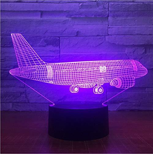 bedienung Großes Flugzeug 3D Licht Tischlampe Optische Täuschung Nachtlicht 7 Usb Schlafzimmer Dekor Geschenk Farben Ändern Stimmung Lampe ()