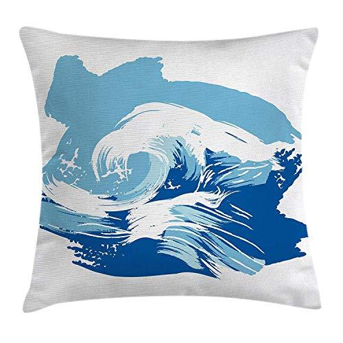 yting Ozean vorbei Dekorative quadratische Akzent KissenbezugSealife Beach unter dem Motto Surfen Miami Wellen Meerestiere Bild Kunstdruck,45 X 45cm