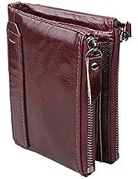 Herren Geldbörse, Rosa Schleife Männer Geschenk Portemonnaie Herren Leder Blaun Vintage Ausweis Geld Klammer Geldbeutel Bifold Brieftasche
