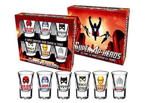 P2G - Lot de 6 shooters Super APEROS - BG621 - Boite cadeau couleurs