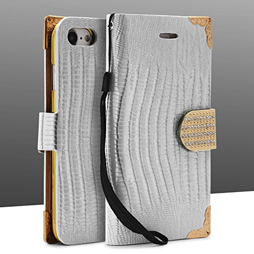 Urcover® iPhone 7 / 8 Hülle, Crocodile Edition Wallet mit [ Magnet Stand-Funktion ] Bookstyle Flip Case Etui Cover Handytasche Schutzhülle für Apple iPhone 7 / 8 Farbe: Schwarz Weiß