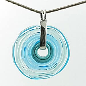 Kette mit Anhänger aus Muranoglas in türkis, Glas-Schmuck, Wechsel-Schmuck, Unikat, personalisiert, einzigartiges Geschenk