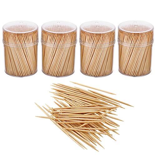 Gmark GM1102 Zahnstocher aus Bambus, aus Holz, rund, groß, in transparenter Kunststoffaufbewahrung, robust, doppelseitig, Party, Vorspeisen, Oliven, Obst, Zahnstocher
