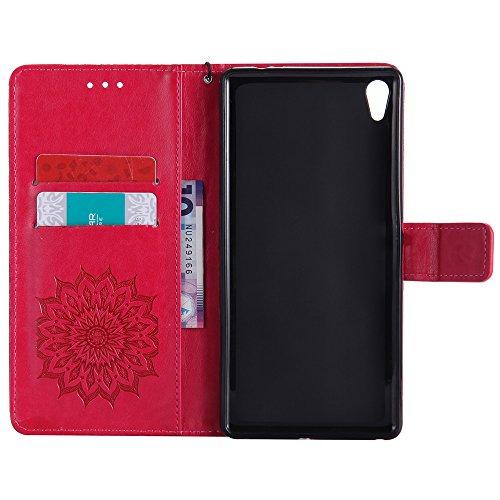 Für Sony C6 Fall, Prägen Sonnenblume Magnetische Muster Premium Soft PU Leder Brieftasche Stand Case Cover mit Lanyard & Halter & Card Slots ( Color : Gray ) Red