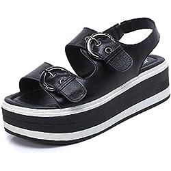 GLTER Frauen offene Zehe wasserdichte Plattform 2017 Sommer neue dicke Leder Sandalen Gürtelschnalle Studenten flache untere Schuhe weibliche Sandalen , black , 36
