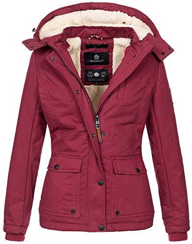 Marikoo warme Damen Winter Jacke Winterjacke Teddyfell Kapuze Muster B683 (Gr. L/Gr. 40, Bordeaux-MP)