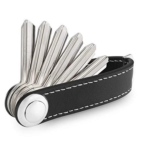 Portachiavi,Organizer Porta Chiavi Compatto in Pelle Portachiavi design intelligente e pratico Compact Key Organizer Portachiavi pelle portatile Organizer(nero)