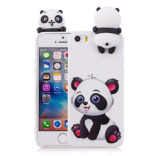 Aeeque Protection iPhone 5S 4.0 Pouces, Blanc Coque pour iPhone 5S/ iPhone 5/ iPhone Se Silicone 3D Motif Panda Bébé Mignon Design Anti-Scratch Anti-Rayure Protecteur Souple Etui Bumper