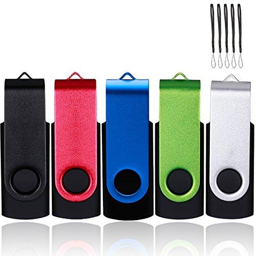 Usb 2.0flash drive–girevole design penna memory stick piegare–confezione da 5diverse combinazioni di capacità metal mixcolor 1 2 gb