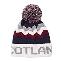 EuroStick Scotland Bobble Hat - Navy/Cream/Oxblood Red