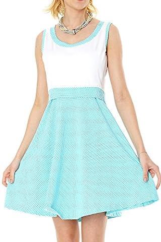 GoFuture Damen Umstandskleid Stillkleid 3in1 Alcona GF2123XF in Weiß mit Minze und grünen Punkten