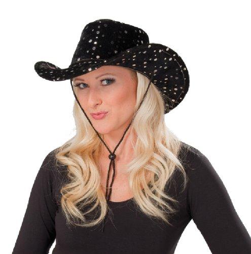 Cowboy Hut schwarz Samt Pailletten Karneval Zubehör Western Kostüm