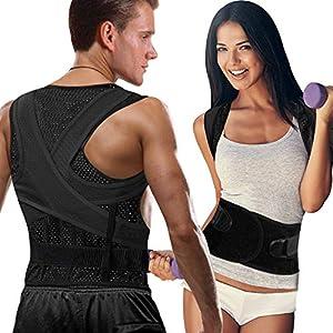 FYLINA Haltungskorrektur Rücken Schulter, Rückenstütze Haltungstrainer,Verstellbar Atmungsaktiv Haltungstrainer Geradehalter Körperhaltung und Unterstützung für Damen und Herren