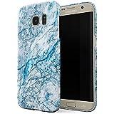 Coque Samsung Galaxy S7 Edge, Bleu Marbre, BURGA La Glace Bleu Frosty Ice Blue Aqua Marble Housse Étui Protecteur Design Ultra-Mince Plastique Robuste Durable Pour Samsung Galaxy S7 Edge Case Cover