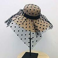 FHHYY sombreo Gran Sombrero de ala Ancha para Mujer Disquete Sombrero de Sol de Verano para Mujer Anti-UV protección Solar Sombrero de Playa Sombrero de Paja para Mujer,S