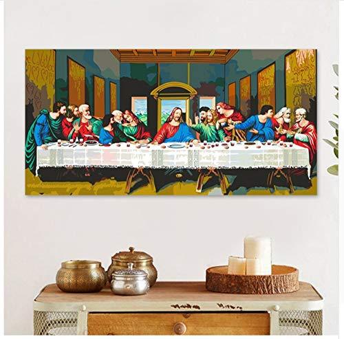 WYTCY Mit gerahmtem Gemälde nach Zahlen Kunstfarbe nach Zahlen Das letzte Abendmahl Jesus Christ Digital Painting Biblische Geschichte Da Vinci Wandbild Dekorativ 40x50cm
